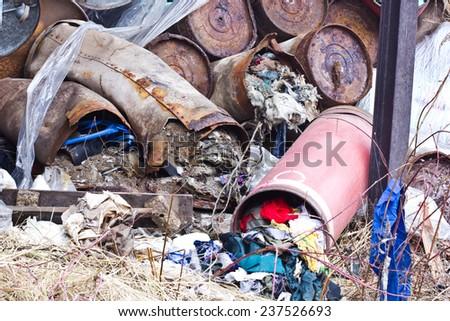 Abandoned garbage dump. - stock photo