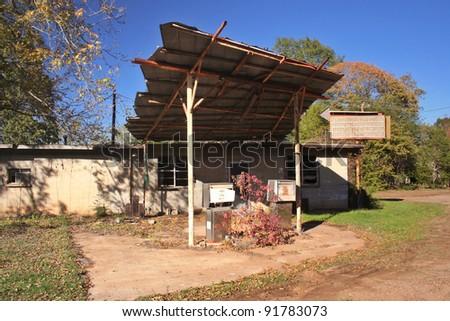 Abandoned Gas Station - stock photo