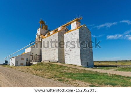 Abandoned grain elevator, Gull Lake, Saskatchewan, Canada - stock photo