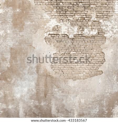 abandoned grunge cracked brick stucco wall background - stock photo