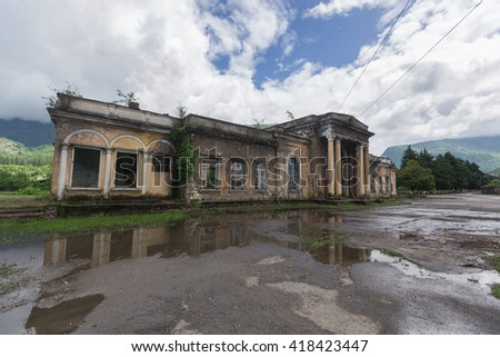Abandoned high in the mountains, abandoned after the war by the people of the city. - stock photo
