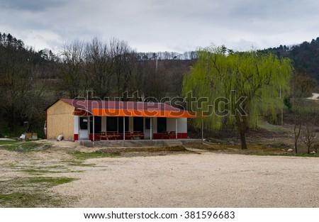 Abandoned highway restaurant, Mountains, Turkey - stock photo