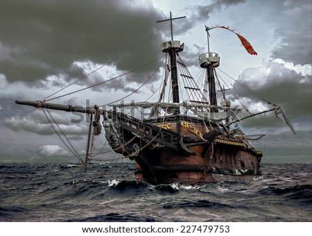 Abandoned historic sailing ship in the stormy sea. Wooden sailboat sails in a storm at ocean. A mysterious boat in stormy waves. - stock photo