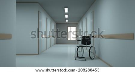 Abandoned hospital corridor. 3d render - stock photo