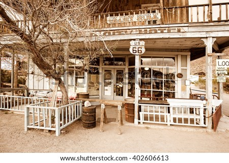abandoned hotel in a ghost town on route 66 - stock photo