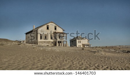 Abandoned house / at ghost diamond mining town, Namibia, Africa - stock photo