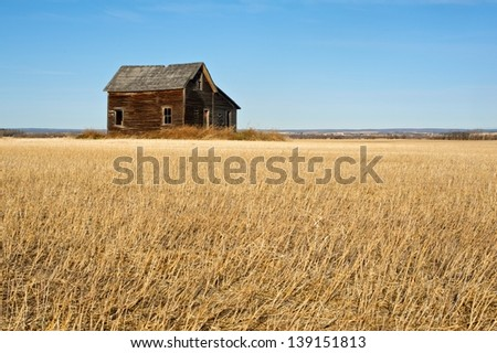 Abandoned house in harvested field - stock photo