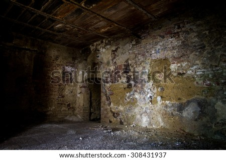 Abandoned house in Toiano, little ghost town in Tuscany, Italy - stock photo