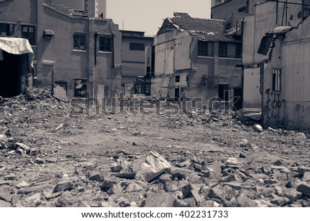 Abandoned houses and ruined city - stock photo
