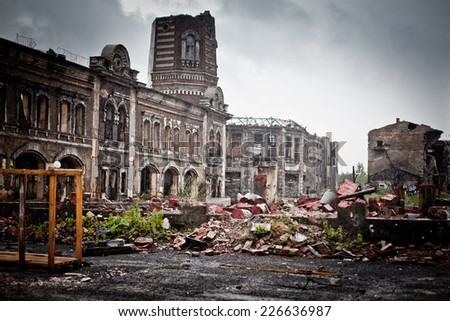 abandoned houses and ruined city wet and muddy, old - stock photo