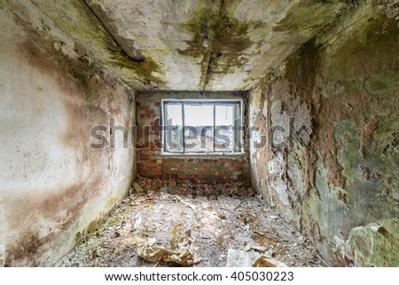 Abandoned interior in ruins of military settlement. City of Skrunda in Latvia - stock photo