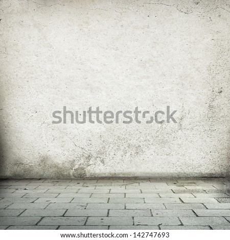 abandoned interior old street wall texture background and street sidewalk - stock photo