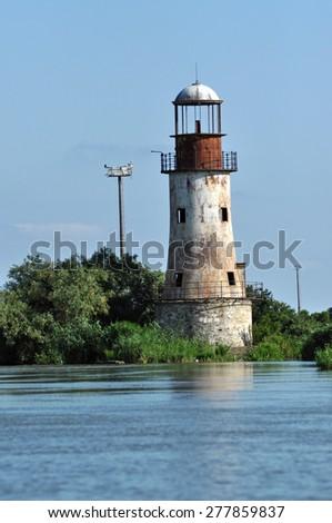 Abandoned lighthouse of Sulina, Danube delta, Romania - stock photo