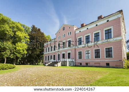 Abandoned mansion with paved driveway overgrown with grass - stock photo