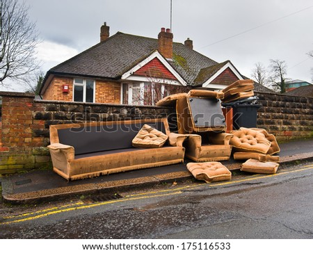 Abandoned old furniture. england reading - stock photo