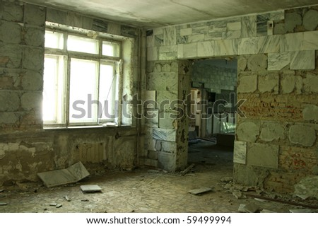 abandoned old room - stock photo