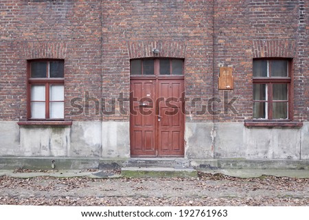 Abandoned old school building in Lodz - stock photo