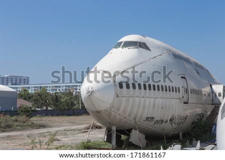 Abandoned plane. - stock photo