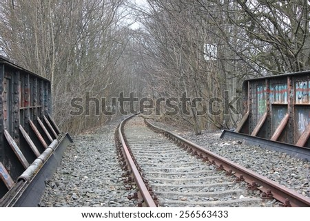 Abandoned railway track in flensburg, northern germany - stock photo