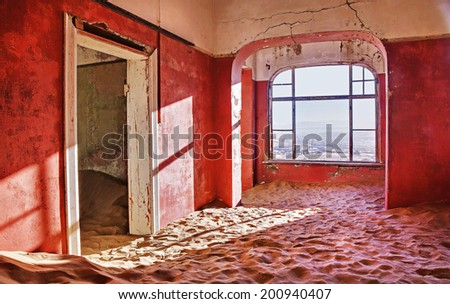 abandoned red room in Namibia desert - stock photo