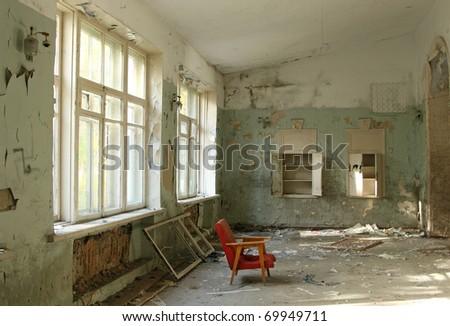abandoned room - stock photo