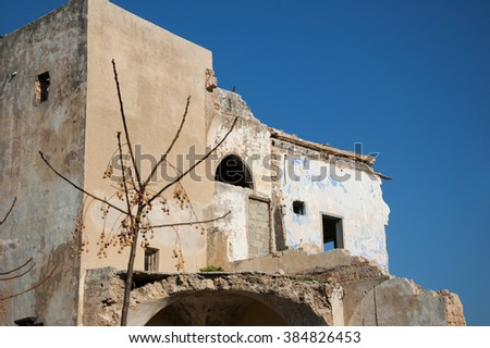 Abandoned ruined old house and a bare tree with dried fruits. Selective focus on the house.  - stock photo