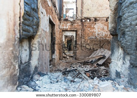 Abandoned Russian army unit Town in Moscow region - stock photo