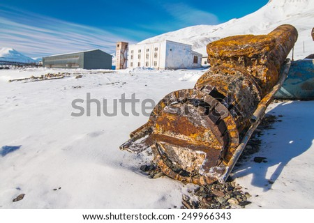 Abandoned Russian mining village of pyramiden svalbard norway - deserted junk yard  - stock photo