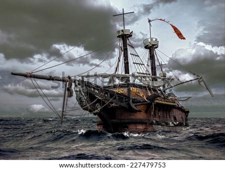 Abandoned ship at sea - stock photo