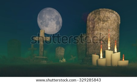 Abandoned spooky cemetery under fantastic big moon with lighted candles in front of an old gravestone. Realistic 3D illustration was done from my own 3D rendering file. - stock photo