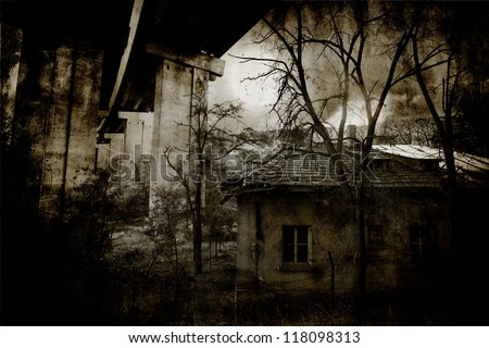 Abandoned spooky wooden house in creepy night forest - stock photo
