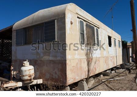 abandoned trailer home in bombay beach salton sea california - stock photo