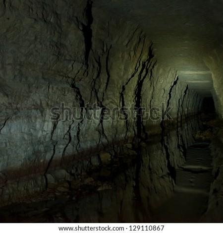 Abandoned tunnel near Humala village, Estonia. Peter the Great's Naval Fortress. - stock photo