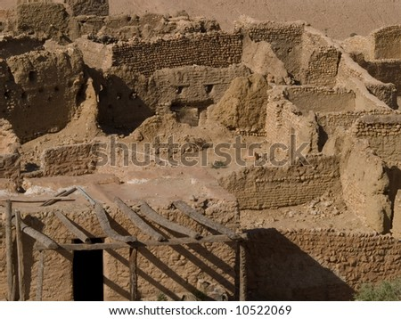 Abandoned Village in Atlas Mountain; Tunisia - stock photo