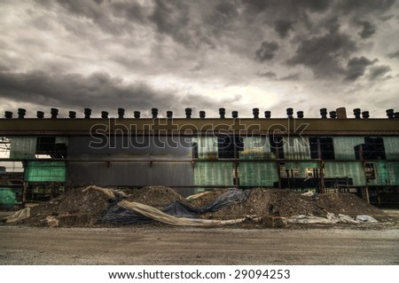 Abandoned Warehouse Facade - stock photo