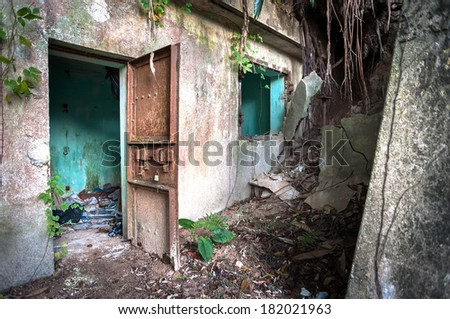 Abandoned World War II building, Hong Kong - stock photo