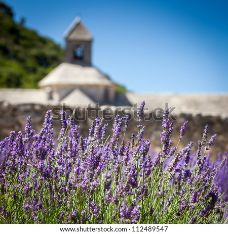 Abbaye Notre-Dame de Senanque with blooming lavender field, Vaucluse, Provence, France - stock photo