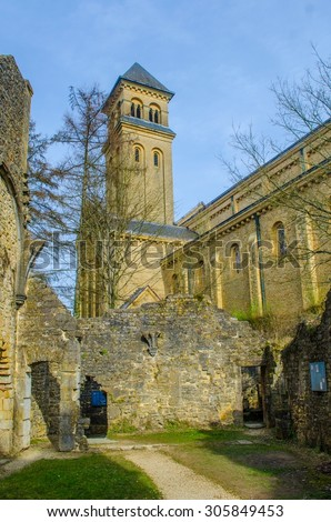 Abbey in Orval in belgium is famous for its trappist beer, botanical garden and ruins of former seat of monastery - nowadays accessible to tourists. - stock photo