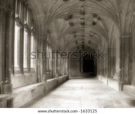 Abbey in sepia - stock photo
