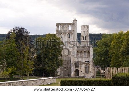 Abbey of Jumieges in Normandy - stock photo