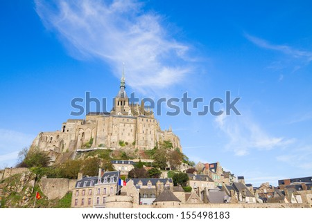 Abbey of Mont Saint Michel, at sunny day  Normandy, France - stock photo