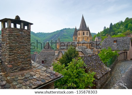 Abbey of Saint-Foy at Conques - stock photo