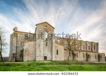 Abbey of San Galgano from 13th century, near Siena, Tuscany, Italy - stock photo