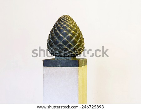 Abbey of the Dormition in Jerusalem . Bronze pine cone - a symbol of eternity and fertility . - stock photo