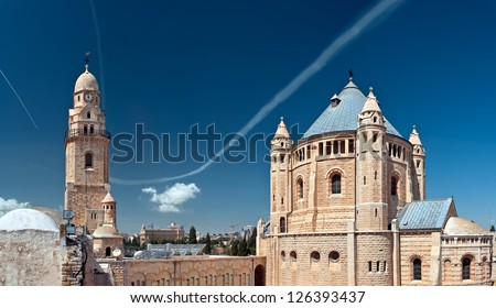 Abbey of the Dormition is an abbey and the name of a Benedictine community in Jerusalem on Mt. Zion just outside the walls of the Old City near the Zion Gate. - stock photo