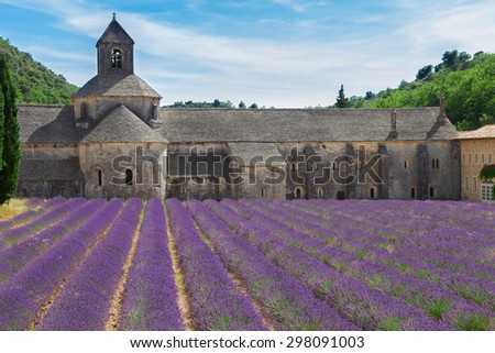 Abbey Senanque and blooming  Lavender field, France - stock photo