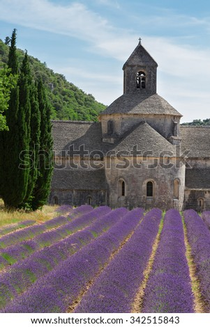 Abbey Senanque and rows of  Lavender field at summer day, France - stock photo
