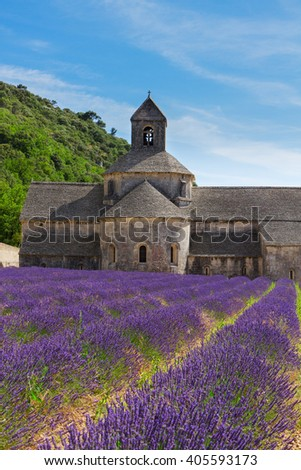 Abbey Senanque and rows of Lavender field, France - stock photo