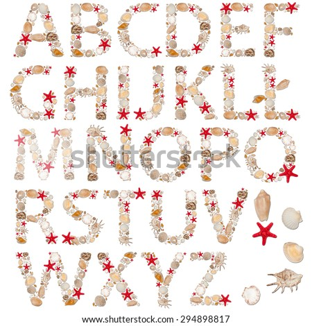 abc, alphabet - letters arranged from sea shells and starfishes - stock photo
