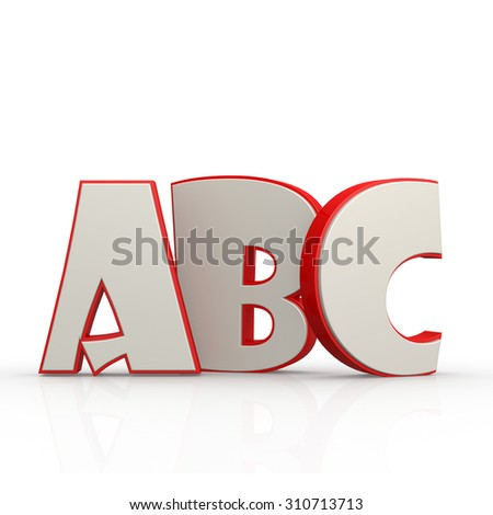 ABC alphabet with white background image with hi-res rendered artwork that could be used for any graphic design. - stock photo